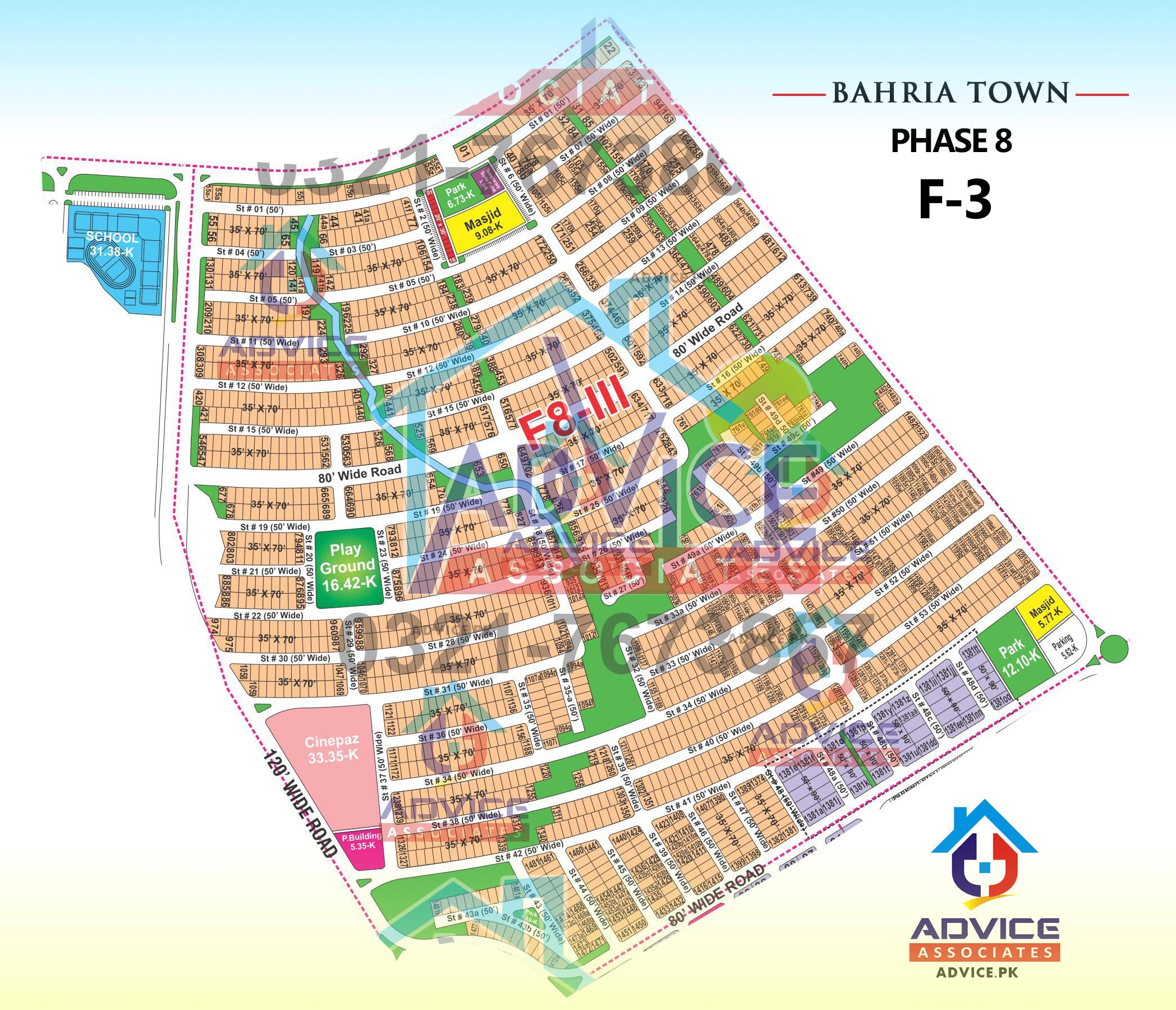 Bahria Town Phase 8 F3 Block