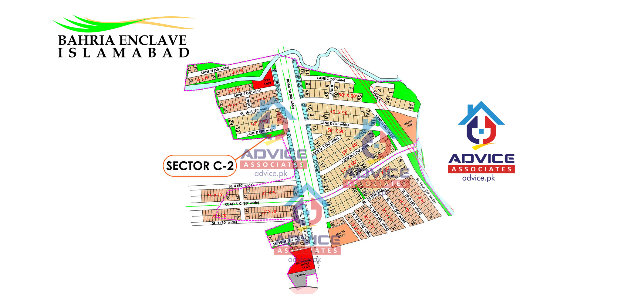 Bahria Enclave Sector C3 Map