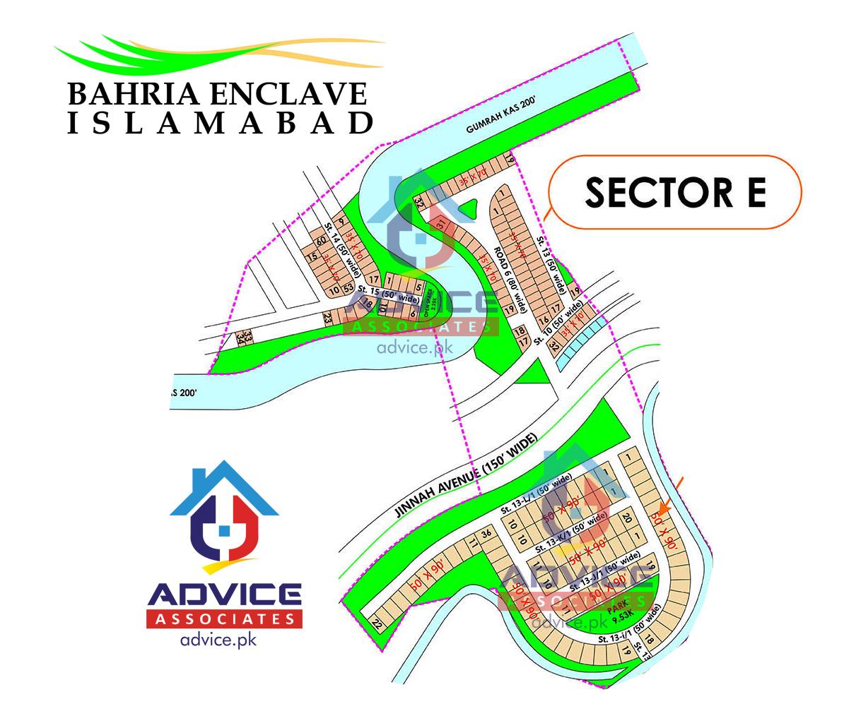 Bahria Enclave Sector E Map
