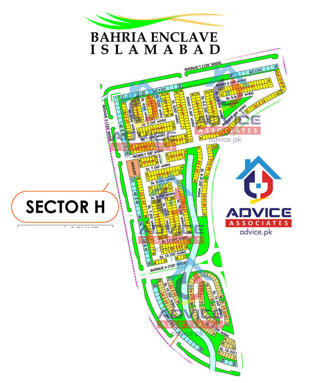 Bahria Enclave Sector H Map