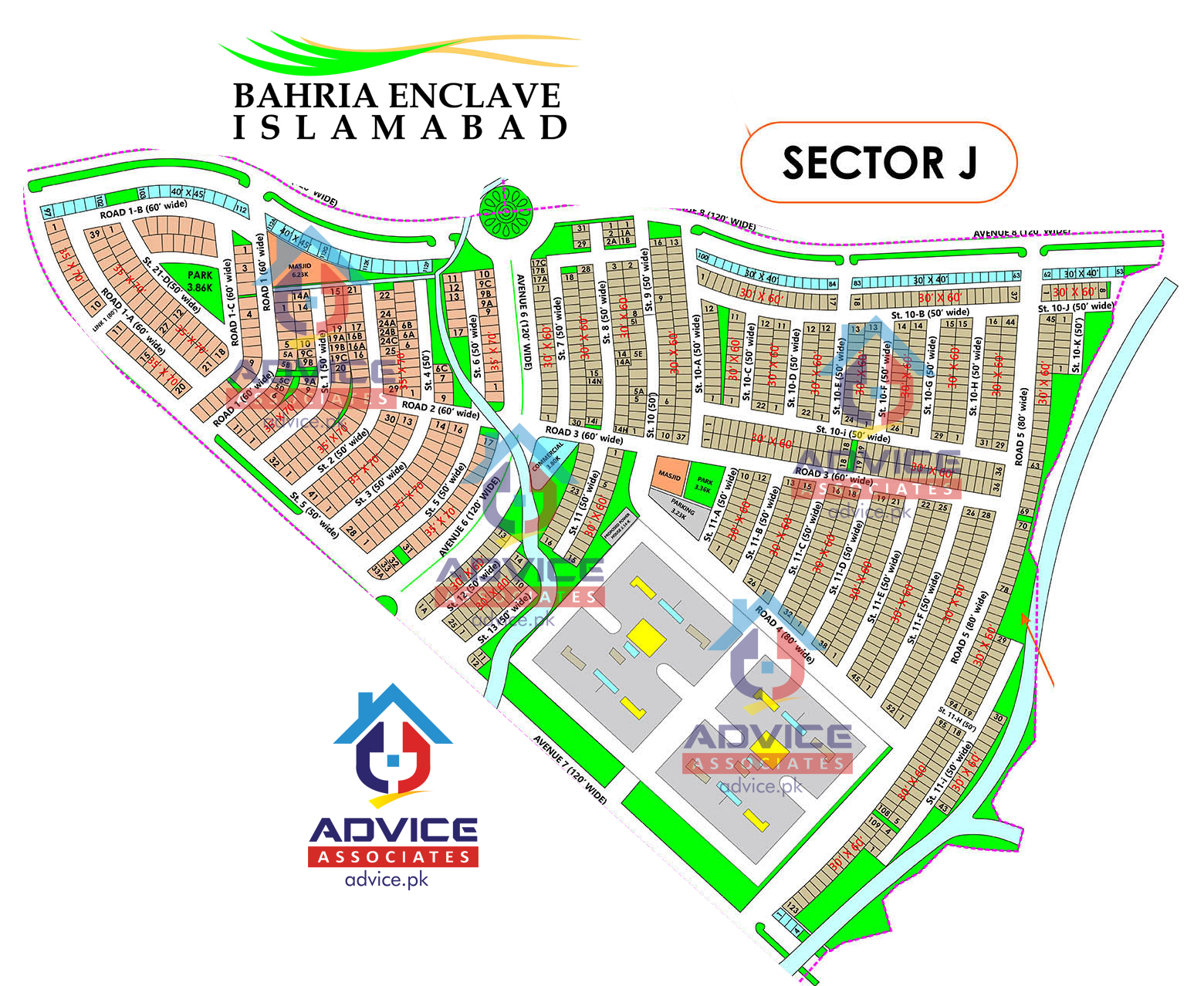 Bahria Enclave Sector J Map