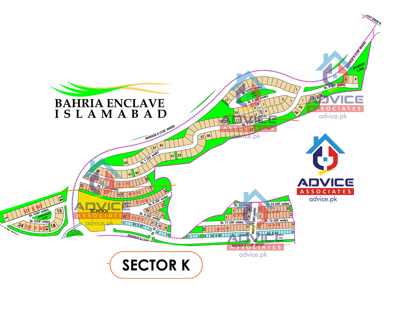 Bahria Enclave Sector K Map