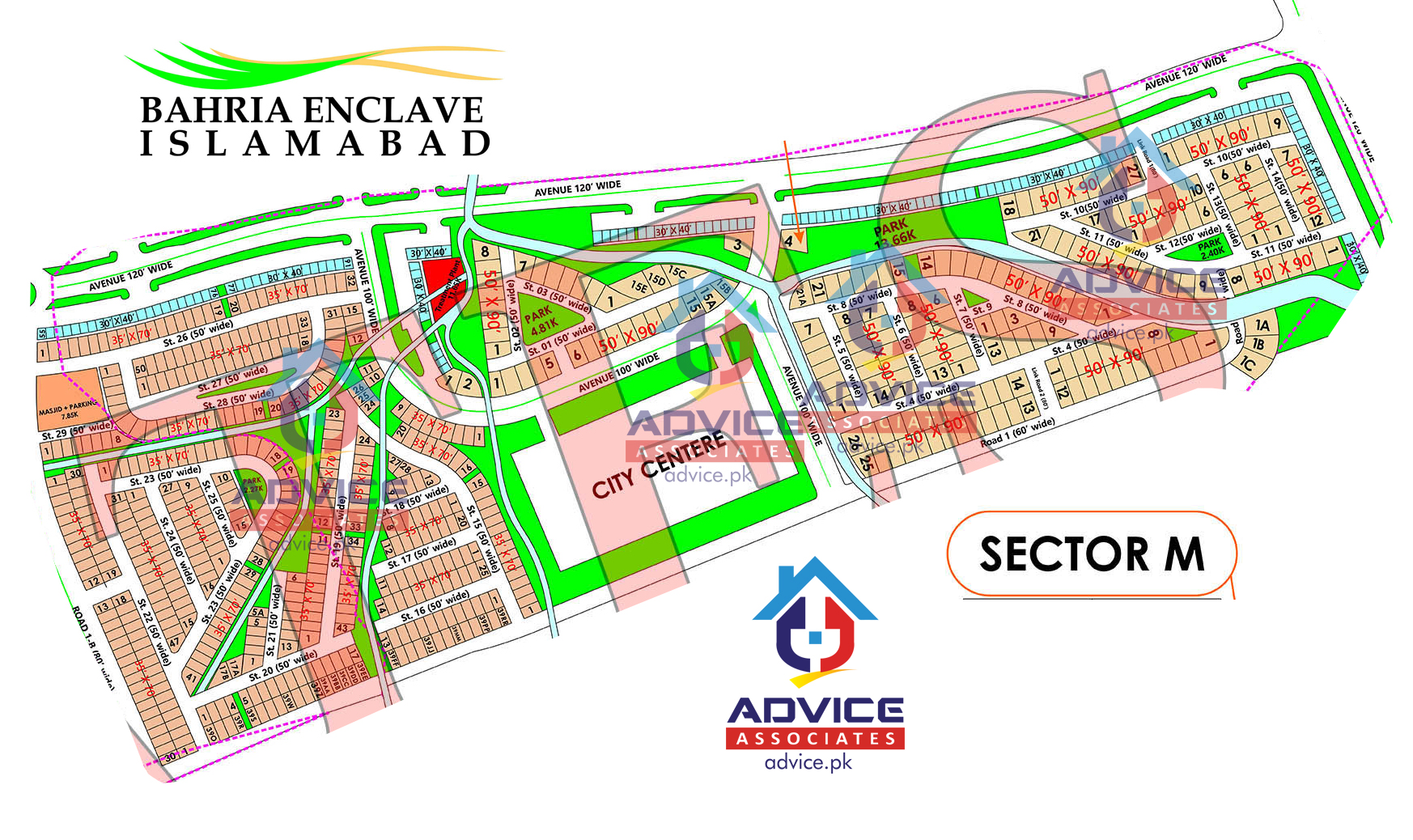 Bahria Enclave Sector M Map