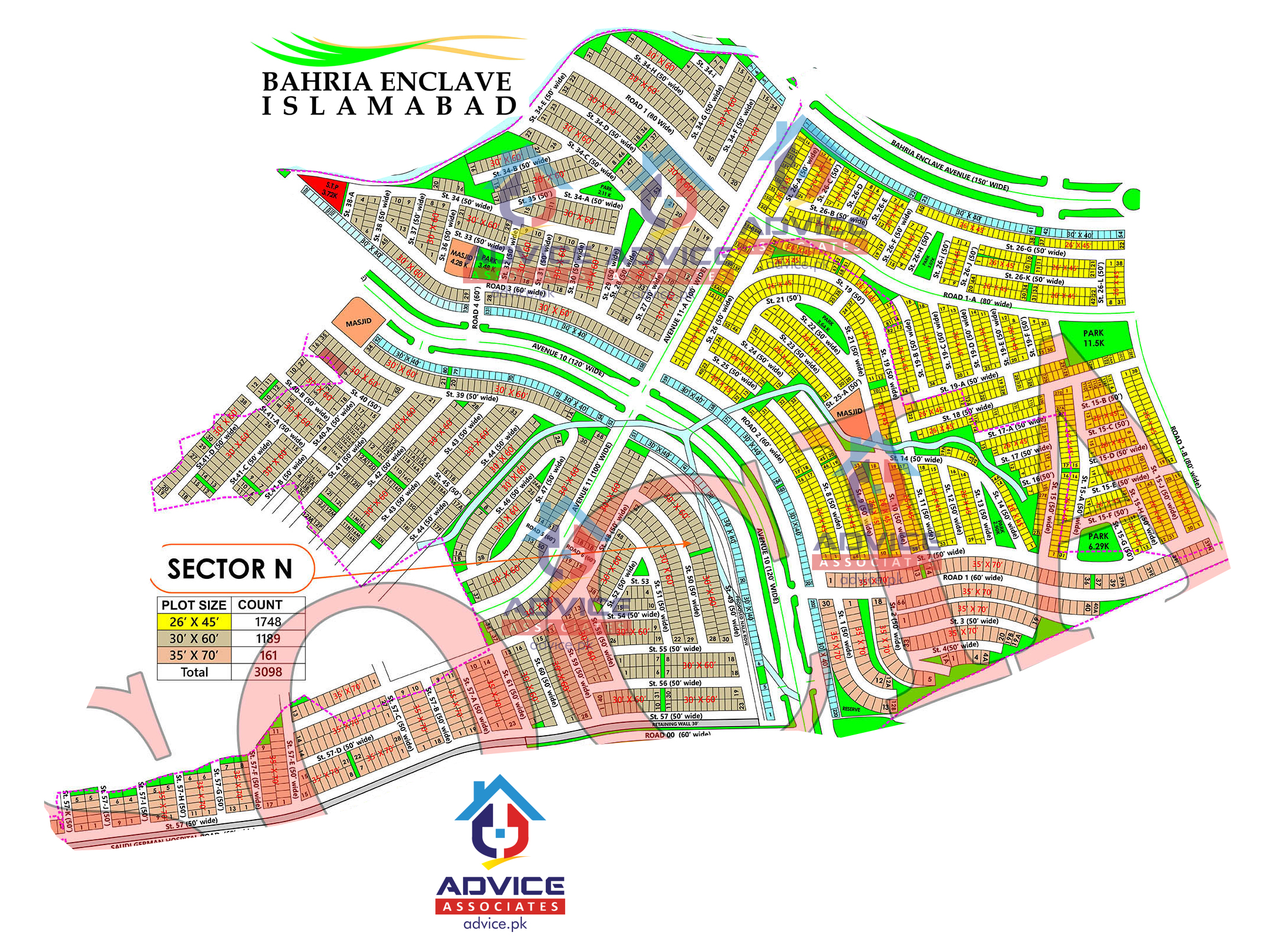 Bahria Enclave Sector N Map
