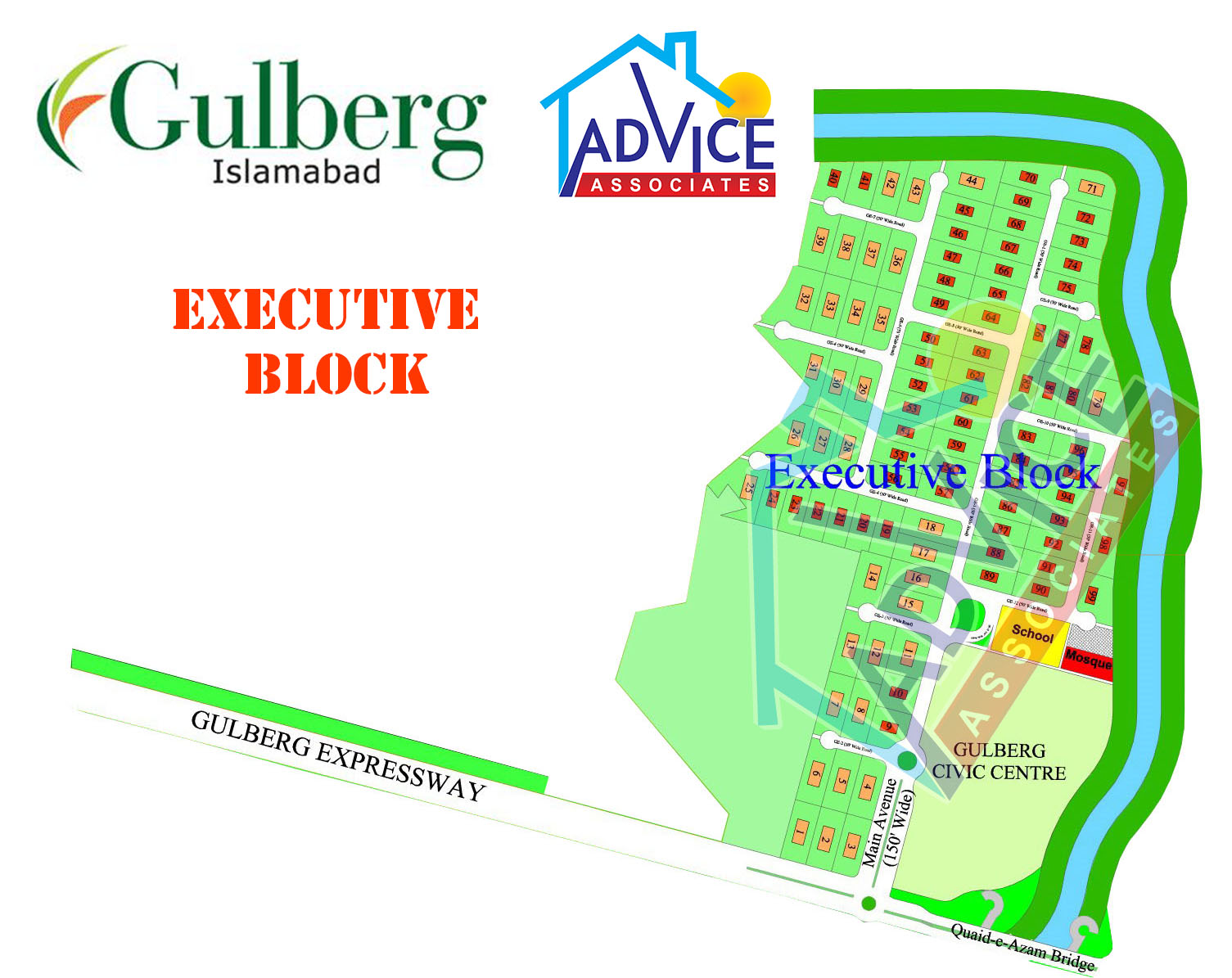 Gulberg greens Farm Houses Exuctive Block Map